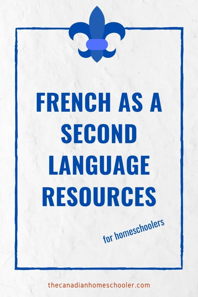 Text Reads: French as a Second Language Resources overlaid on white background