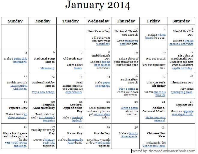 April Calendar National Days : January activity a day calendar