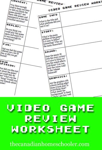 videogameworksheet
