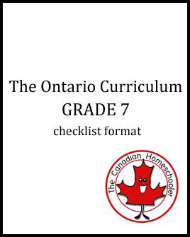 The Ontario Curriculum - Grade 7 - Checklist Format
