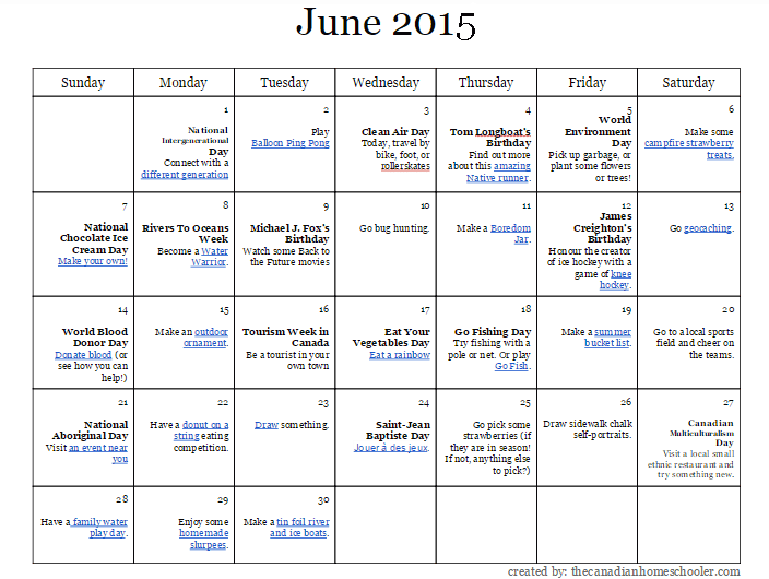 June 2015 Activity-A-Day