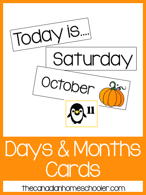 Days and Months Printable Cards