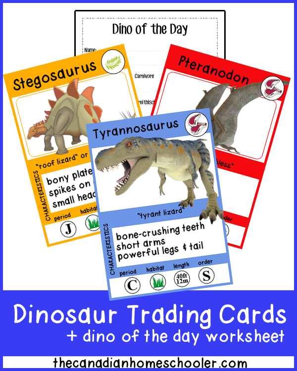 "Dinosaur Trading Cards - a fun way to learn dinosaur facts! (And a bonus ""dino of the day"" worksheet!)"