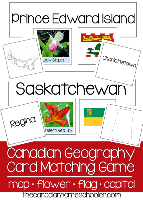 Canadian geography card game - Match the flag, flower, capital, and map to the right province/territory.
