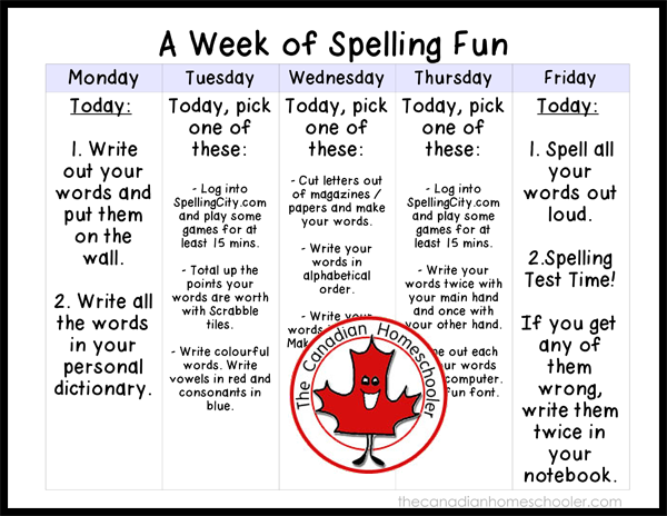 A Week of Spelling Activities Fun