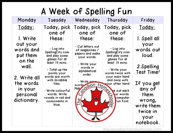 A Week of Spelling Activities Fun