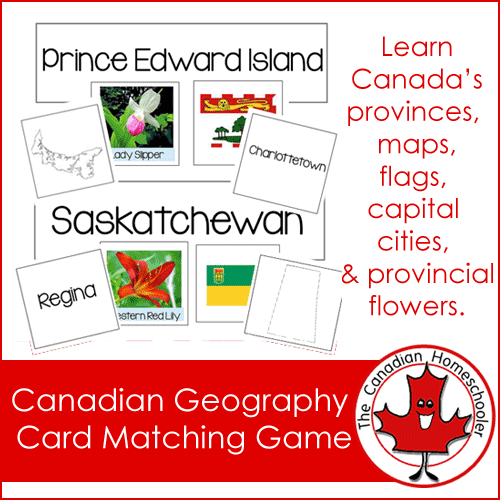 Canadian Geography Card Matching Game