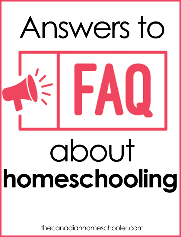 """Text that reads """"Answers to FAQs about homeschooling"""" with a picture of a red megaphone"""