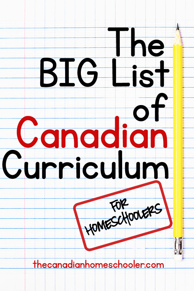 Canadian Curriculum List