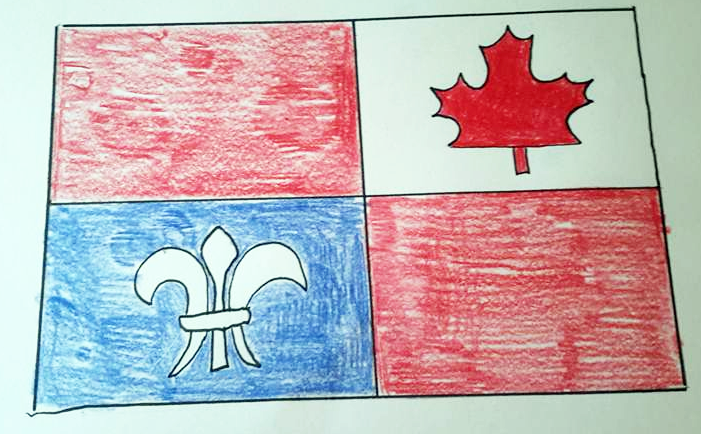 This flag includes red like the red ensign, the maple leaf, and the fleur-de-lis - all things which are part of Canada.