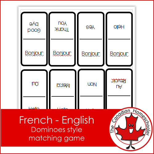 French English Matching Dominoes Game