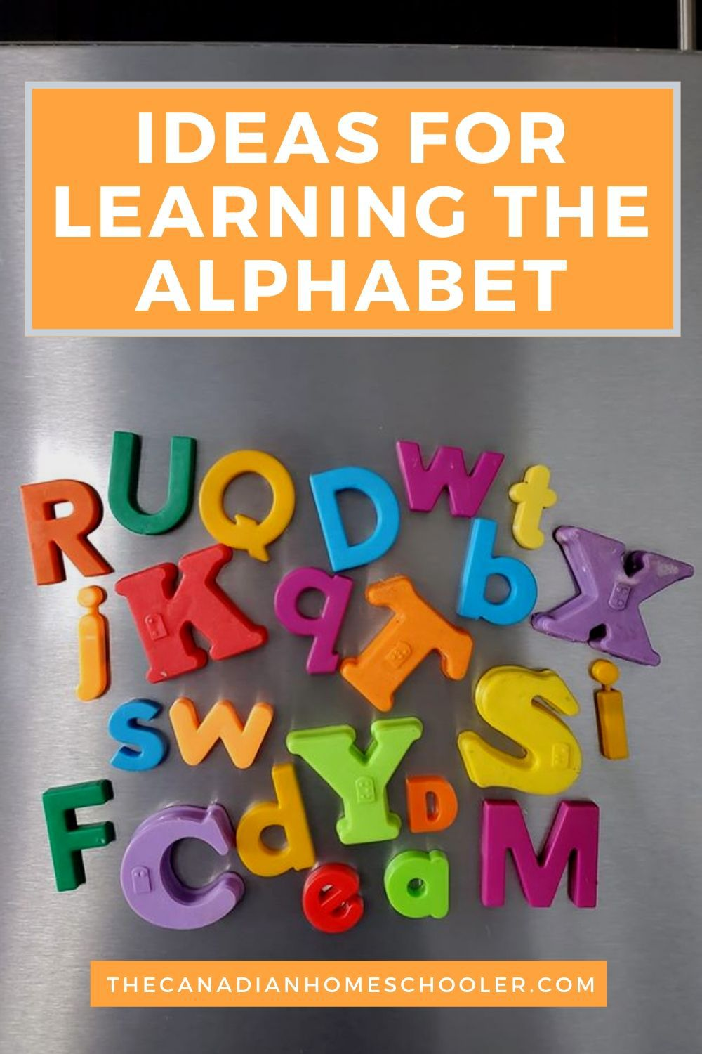 "Colourful letter magnets on a fridge with the words ""Ideas for Learning the Alphabet"" Title"