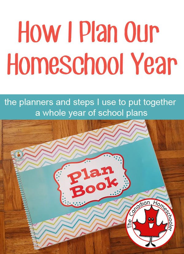 How I Plan Our Homeschool Year text with image of planner