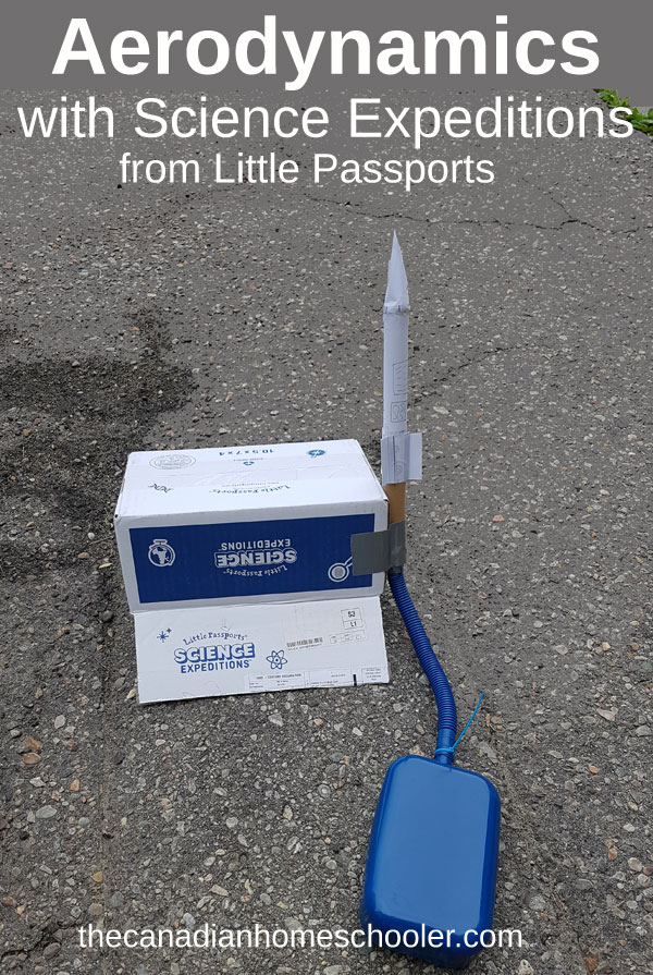 Stomp Rocket on a driveway with text overlay Aerodynamics - From Science Expeditions by Little Passports