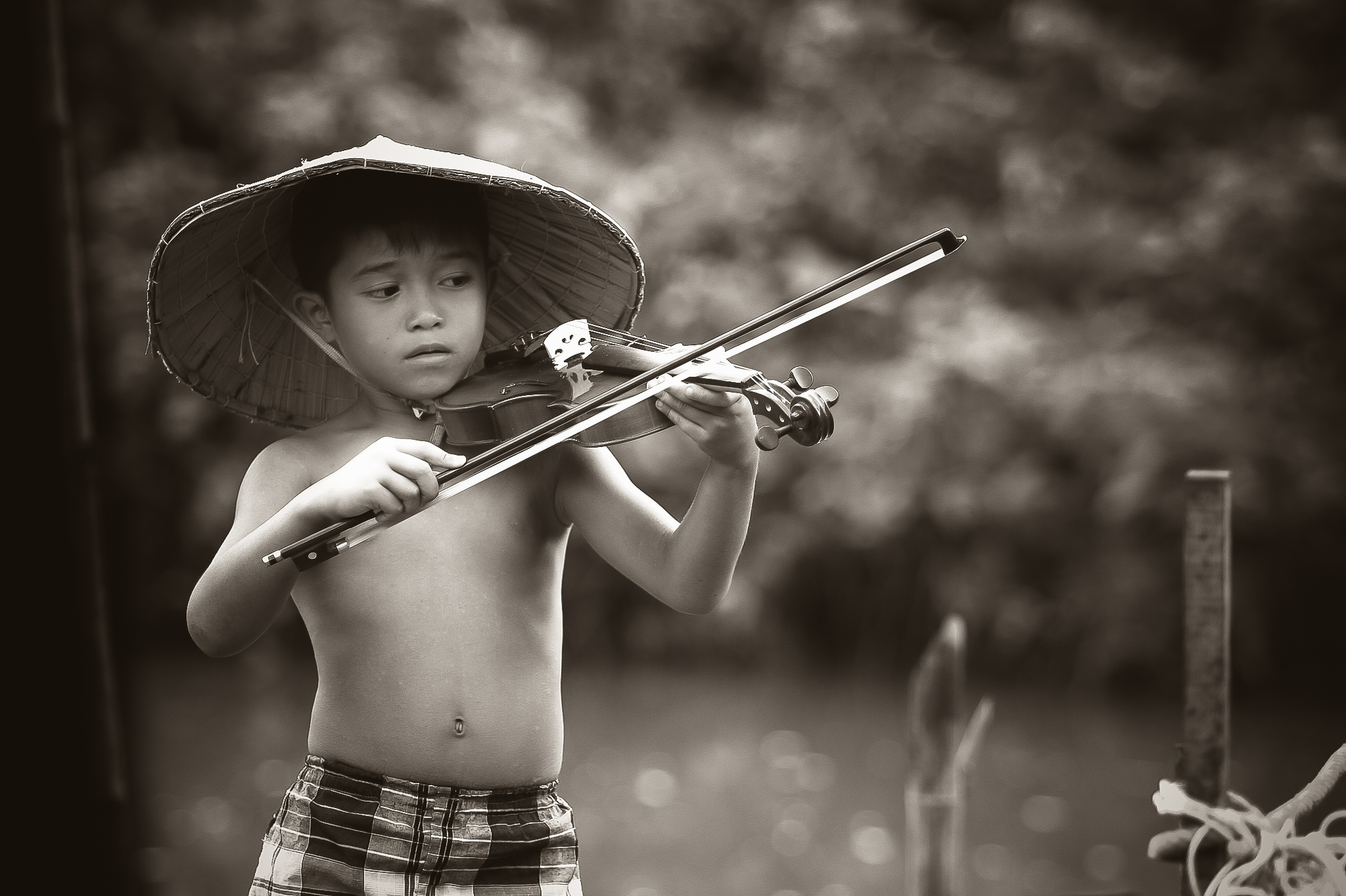 Young Child Playing Violin