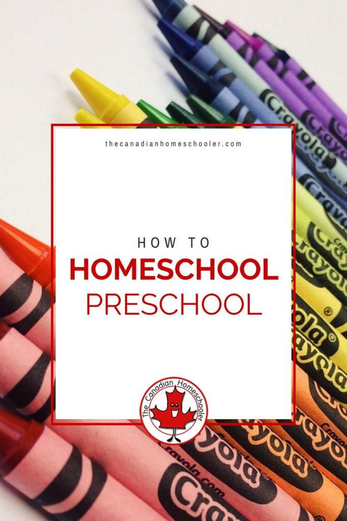 How to Homeschool Preschool text with image of crayons