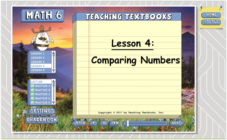 Teaching Textbooks 3.0 Math Curriculum Lesson 4