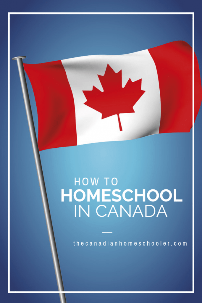 How To Homeschool in Canada: Canada Flag on Blue Background
