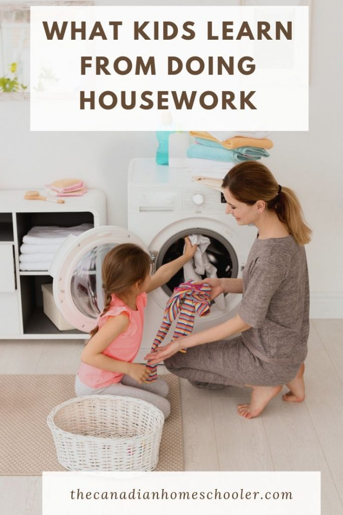 Girl helping with laundry: What Kids Learn From Doing Housekeeping