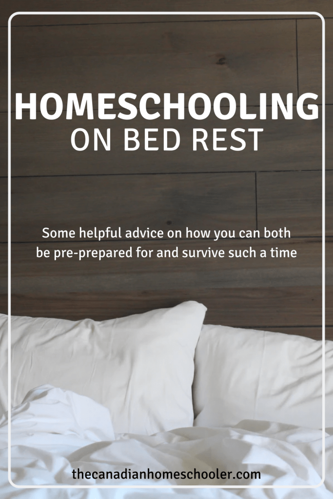 White Pillows on a bed with a wooden headboard with a title Homeschooling on Bed Rest