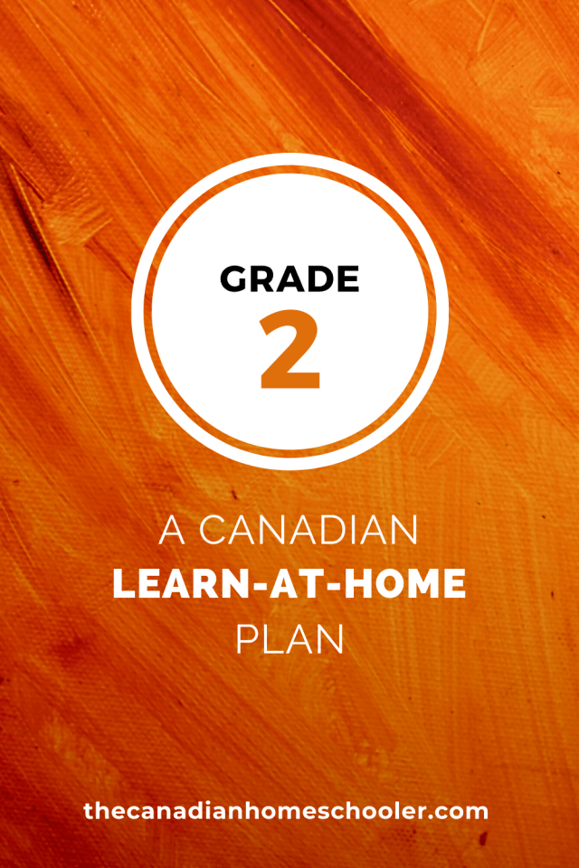 Grade Two Canadian Learn At Home Plan on an orange background