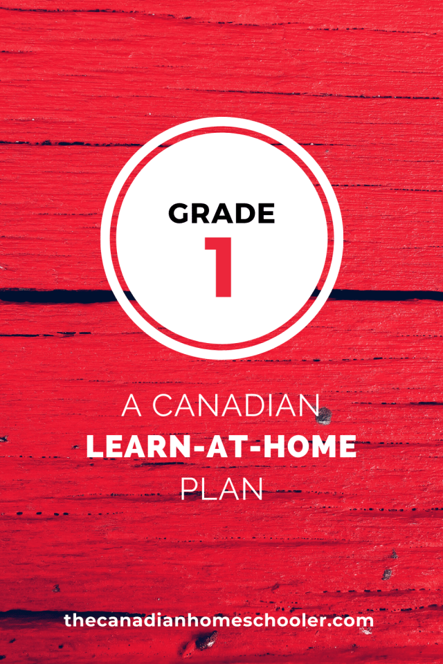 Grade 1 A Canadian Learn-At-Home Plan on a red background