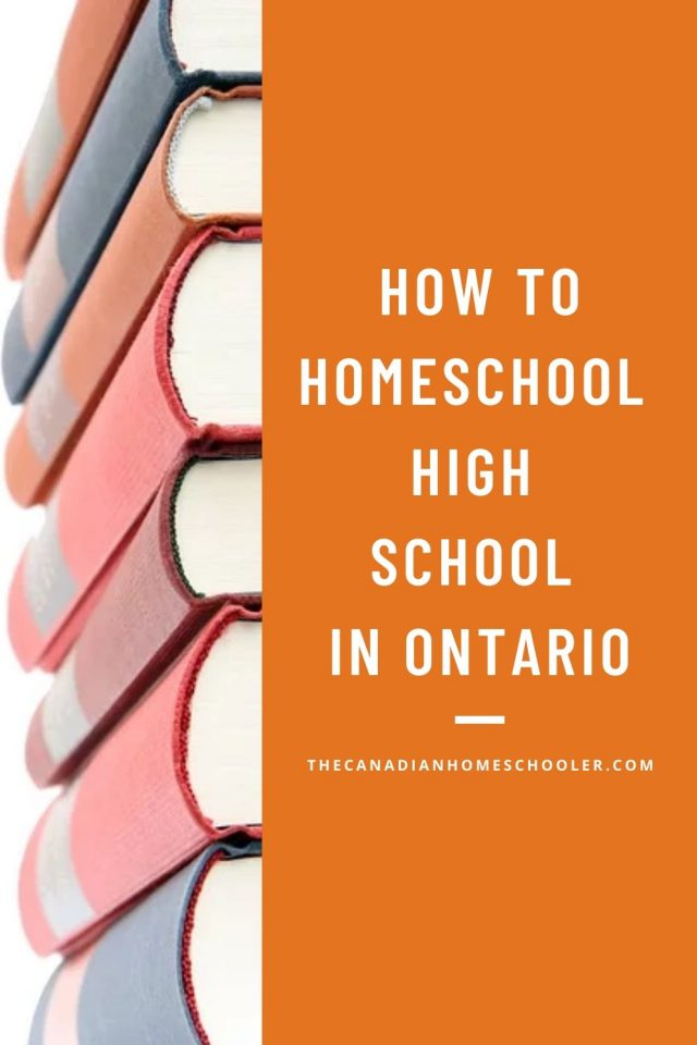 How To Homeschool High School in Ontario Text beside a pile of books