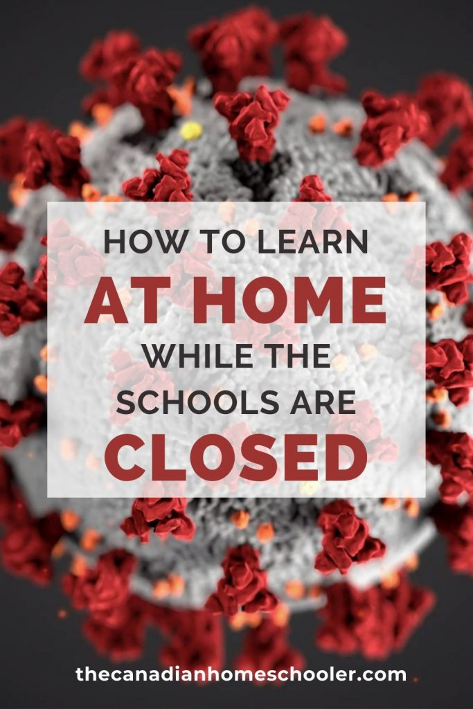 How to Learn At Home While the Schools ARe Closed text with image of virus in background