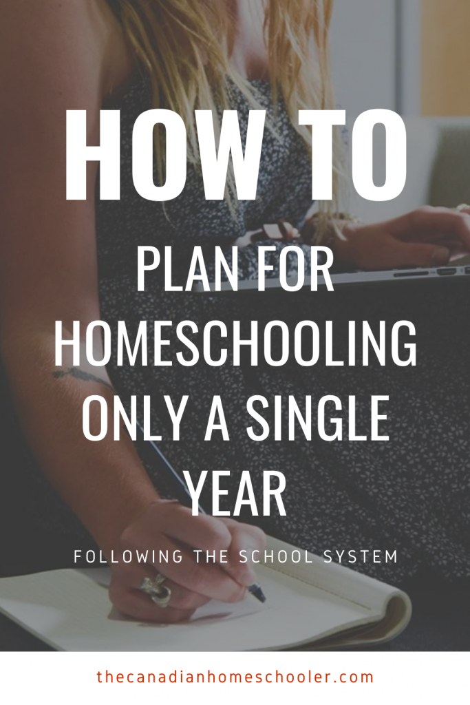 Woman with computer and notepad and text overlay of How to Plan For Homeschooling Only A Single Year Following The School System