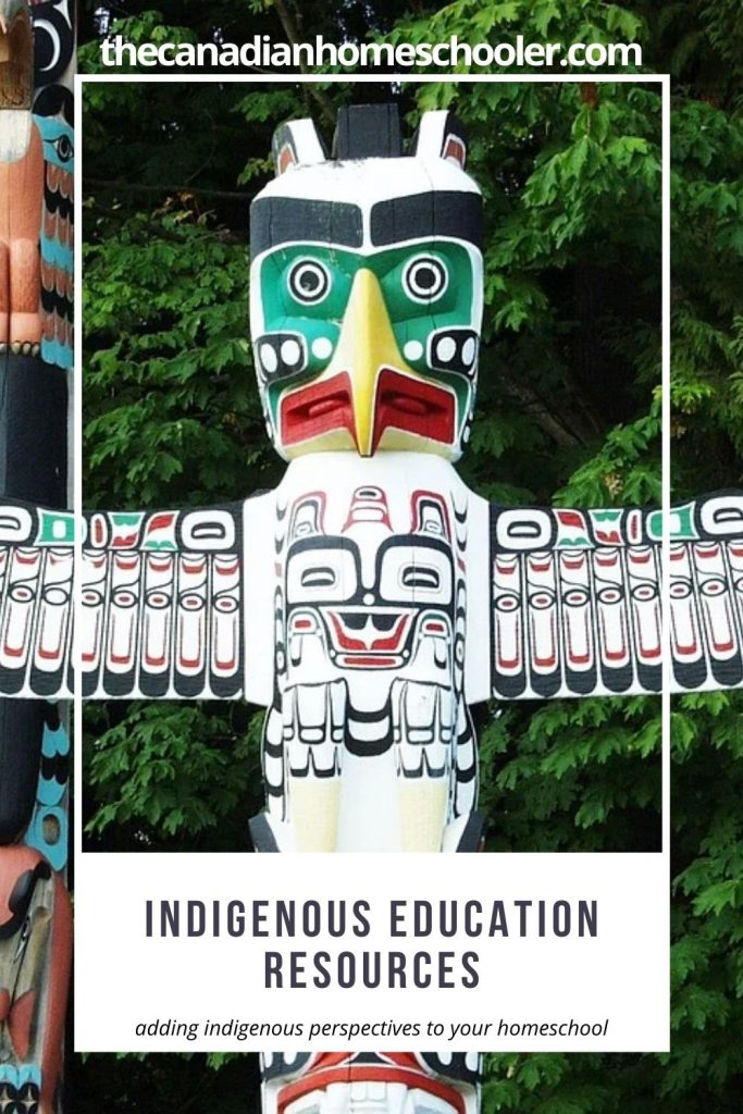 Picture of a totem pole in Stanley Park with text overly reading Indigenous Education Resources